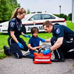 paramedic with little boy